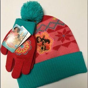 Disney Pom Pom 2-piece Hat & Mitten set NWT girls